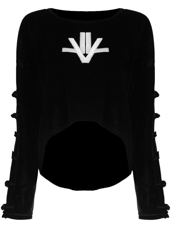 Lisa Von Tang embroidered velour jumper in black