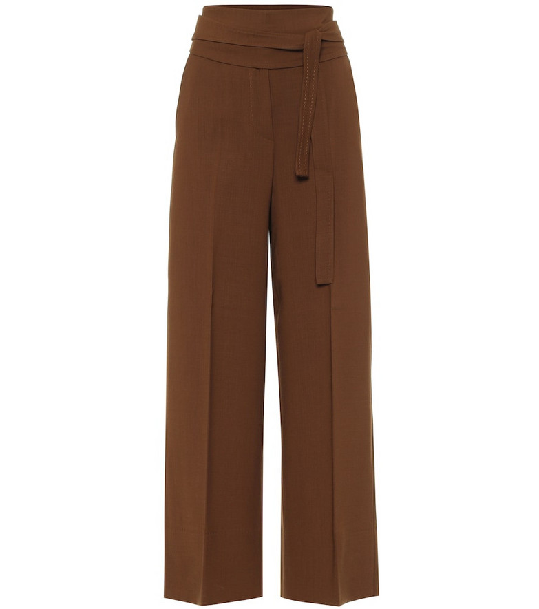 Max Mara High-rise wide-leg wool pants in brown