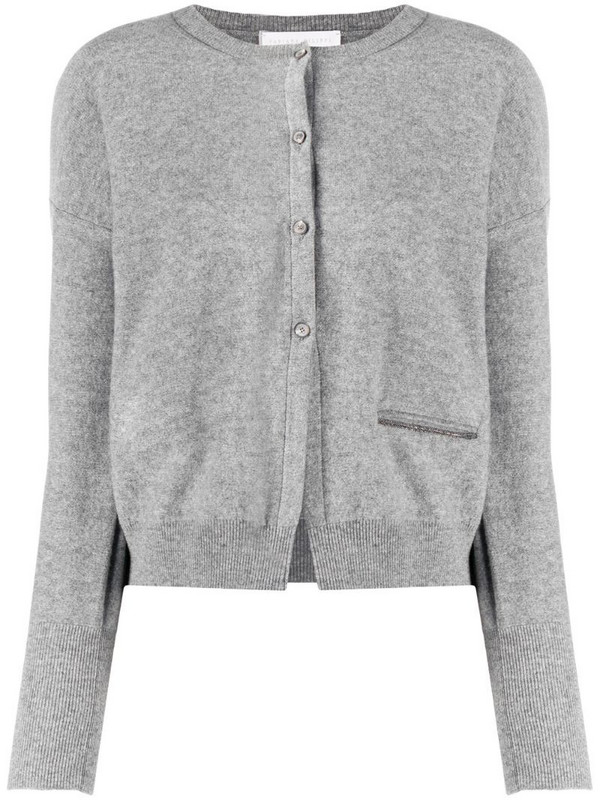 Fabiana Filippi long-sleeved knitted cardigan in grey