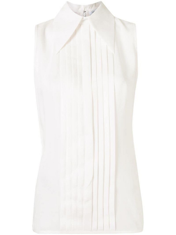 Andrew Gn pleated silk blouse in white