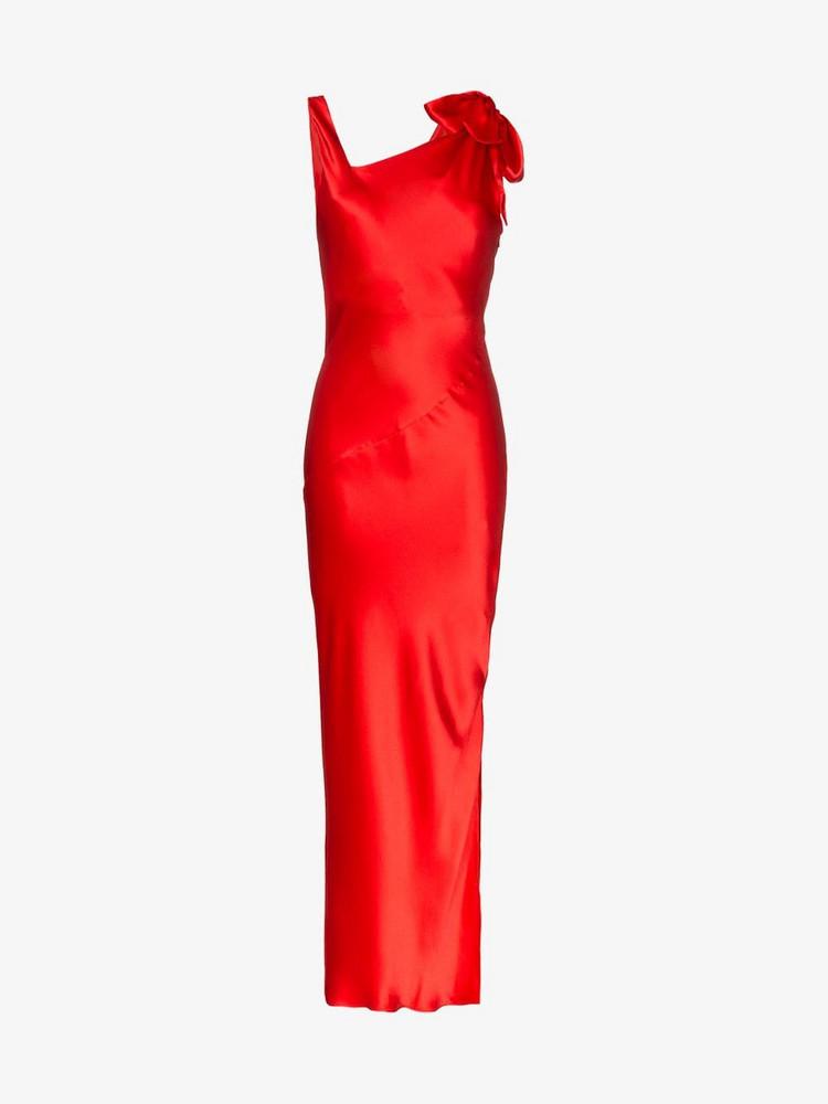Deitas Louise V neck asymmetric silk dress in red