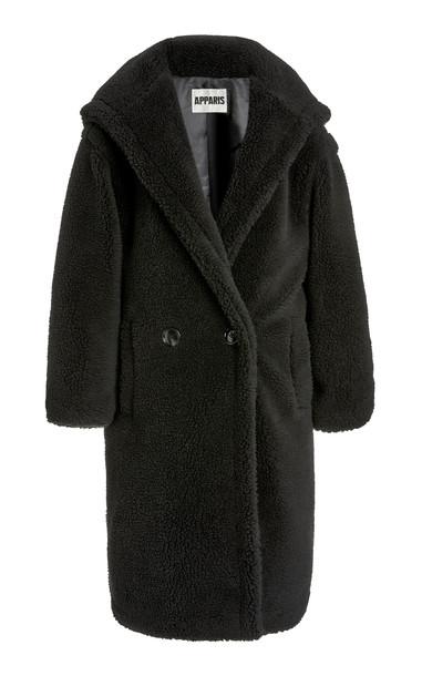 Apparis Mia Hooded Faux Shearling Coat in black