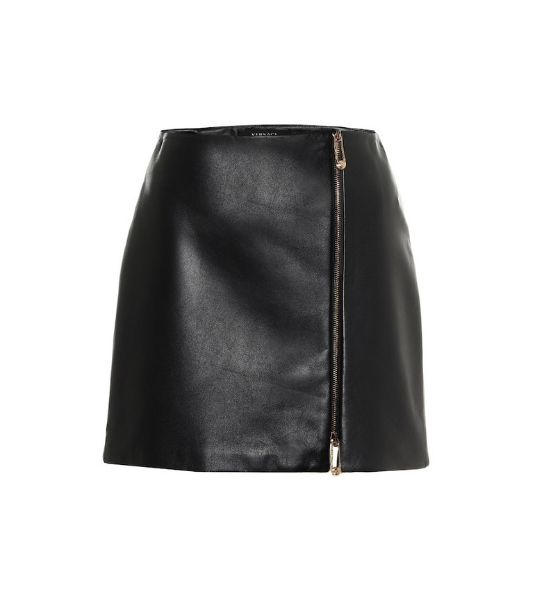 Versace High-rise leather miniskirt in black