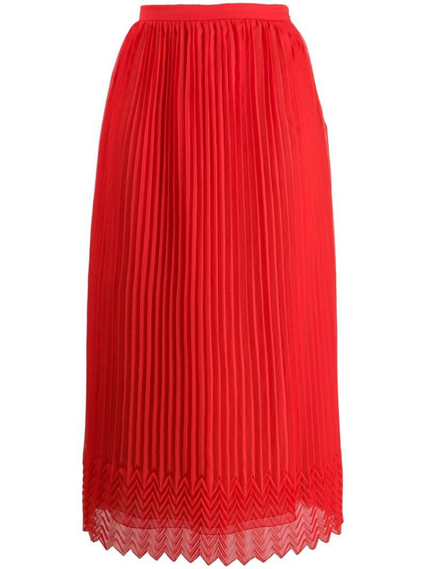 Marco De Vincenzo high-waist pleated skirt in red