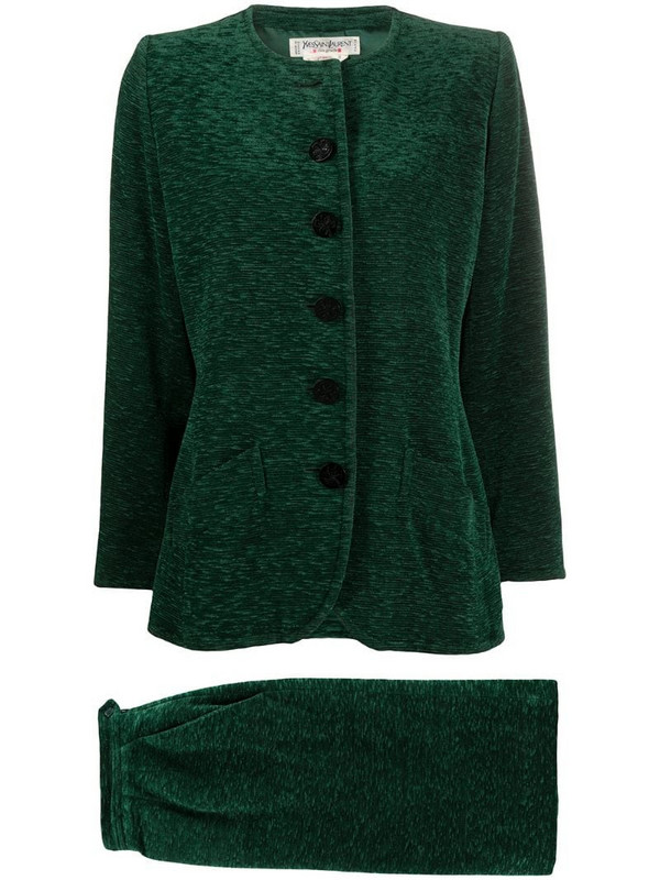 Yves Saint Laurent Pre-Owned mélange-effect skirt suit in green