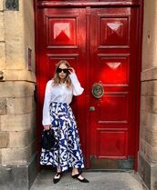 top,white shirt,long sleeves,midi skirt,blue skirt,h&m,mules,black bag,handbag