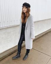 pants,black pants,high waisted pants,leather pants,black boots,lace up boots,grey coat,long coat,beret