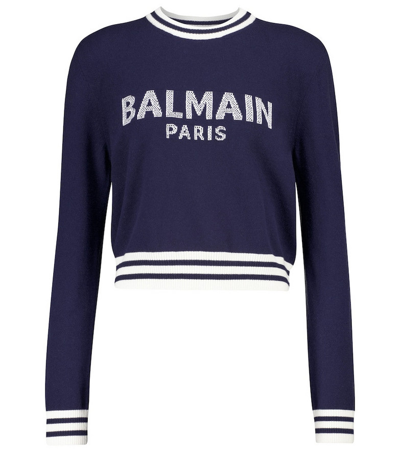 Balmain Logo wool and cashmere-blend sweater in blue