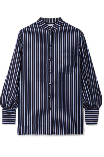Co - Striped Silk-crepe Shirt - Navy