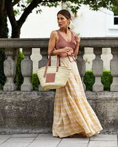 skirt,maxi skirt,striped skirt,loewe bag,tank top