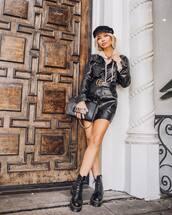 dress,black dress,mini dress,leather dress,long sleeve dress,pretty little thing,black boots,DrMartens,black bag,beret,gucci belt