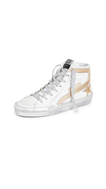 Golden Goose Slide Sneakers in gold / silver / white