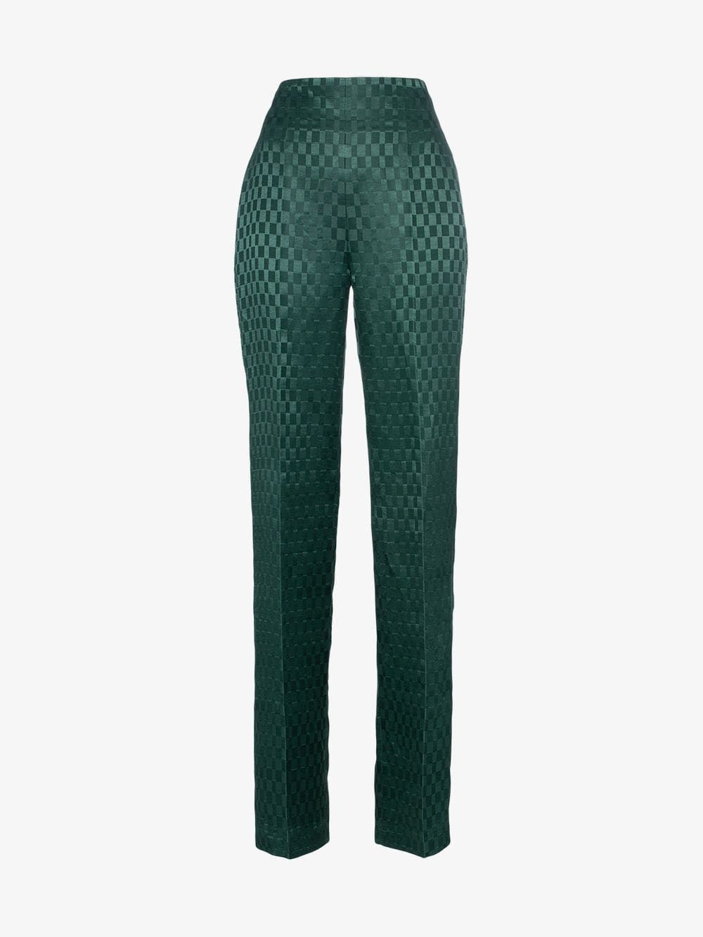 Haider Ackermann High-waisted silk-blend checked suit trousers in green
