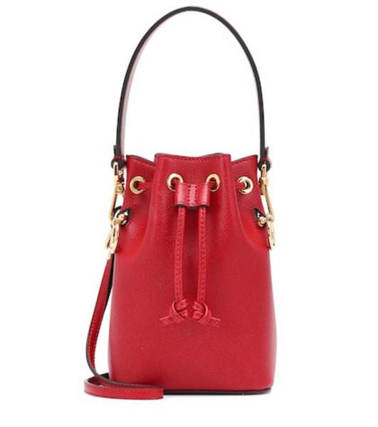 Fendi Mon Trésor Mini leather bucket bag in red