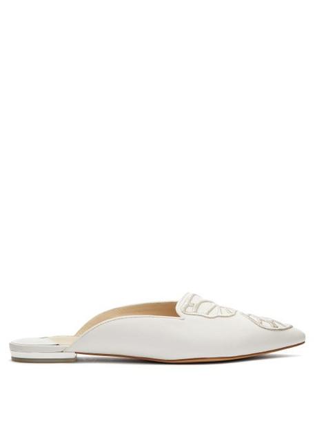 Sophia Webster - Bibi Butterfly Leather Mules - Womens - White Silver