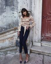 top,blouse,satin,wrap top,pumps,skinny jeans,shoulder bag
