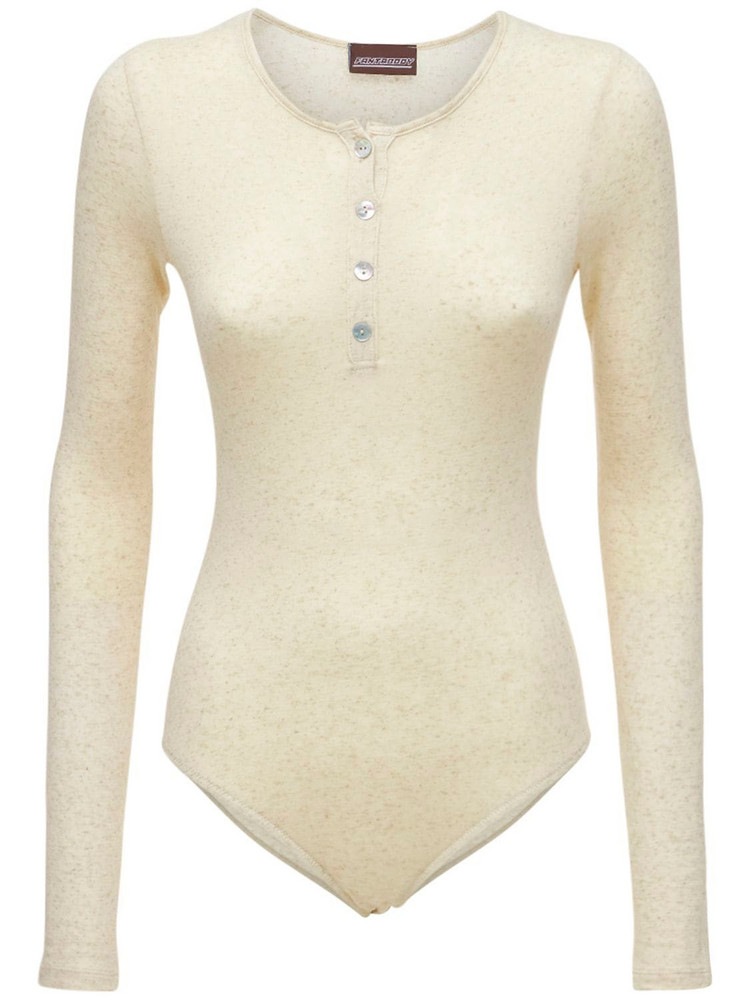 FANTABODY Stretch Mélange Linen Bodysuit in beige