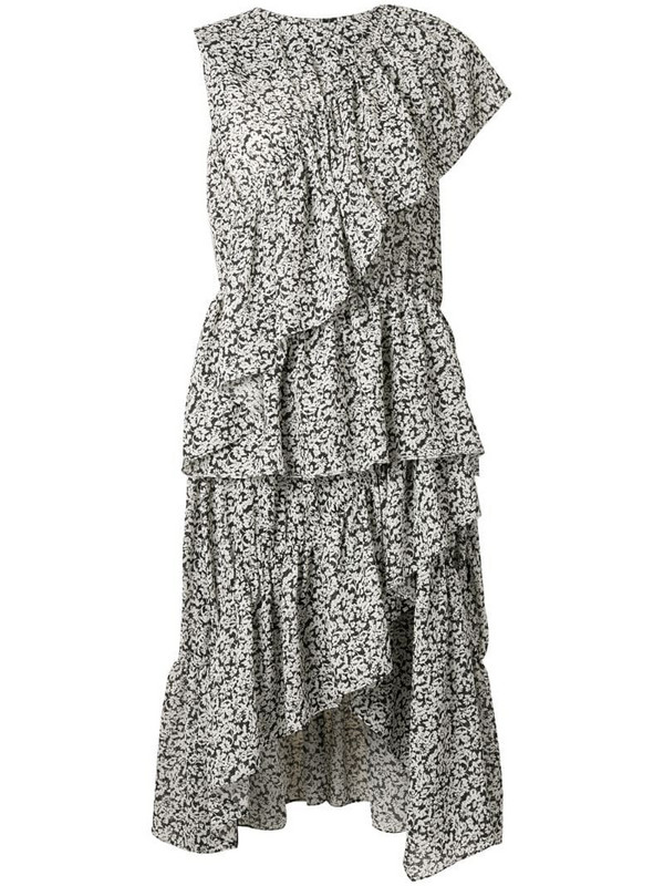 Goen.J floral print asymmetric ruffled dress in black