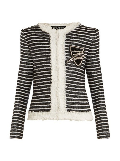 Balmain - Striped Tweed Jacket - Womens - Black White