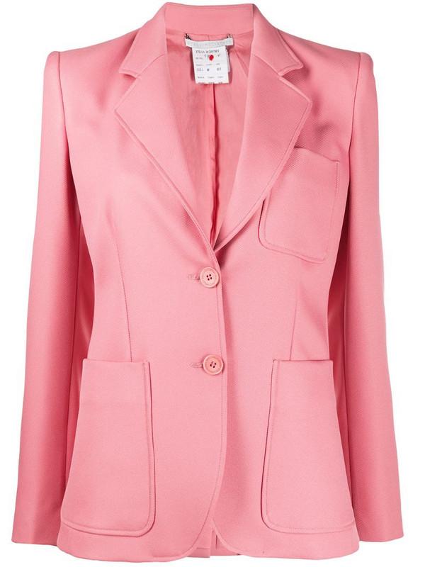Stella McCartney single-breasted patch pocket blazer in pink