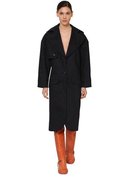 JACQUEMUS Heavy Cotton Canvas Trench Coat in navy
