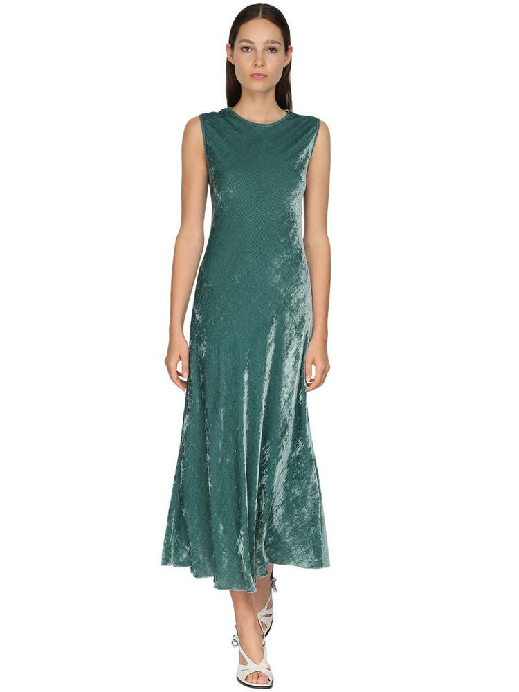 SIES MARJAN Sleeveless Velvet Cord Midi Dress in petrol