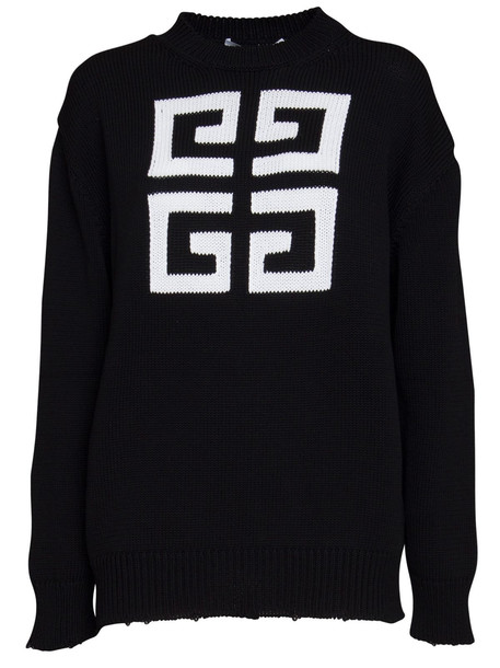 Givenchy Logo Intarsia Cotton Knit Pullover in nero