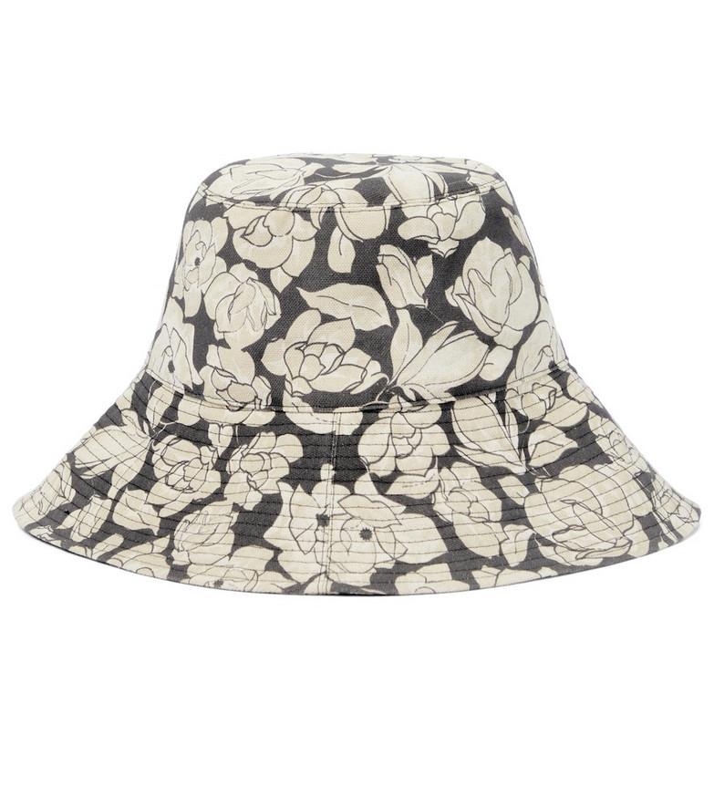 Nanushka Serge floral canvas bucket hat in beige