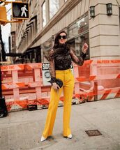top,blouse,long sleeves,sheer,leopard print,yellow pants,flare pants,high waisted pants,pumps,black bag