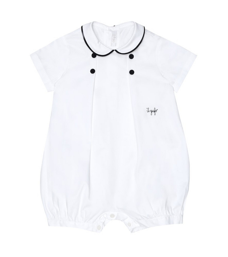 Il Gufo Baby stretch-cotton playsuit in white