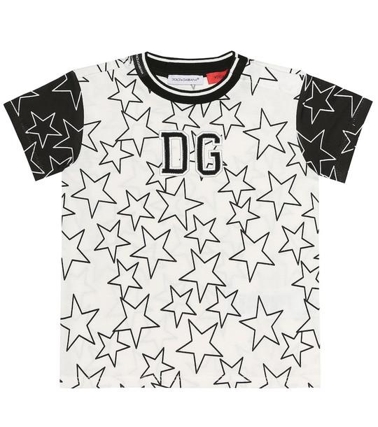 Dolce & Gabbana Kids Printed cotton T-shirt in white