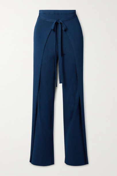 Cult Gaia - Edie Tie-front Ribbed-knit Straight-leg Pants - Navy