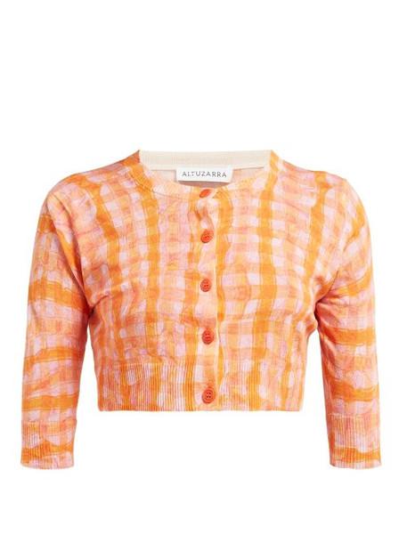 Altuzarra - Anita Gingham Print Silk Blend Cardigan - Womens - Orange Multi
