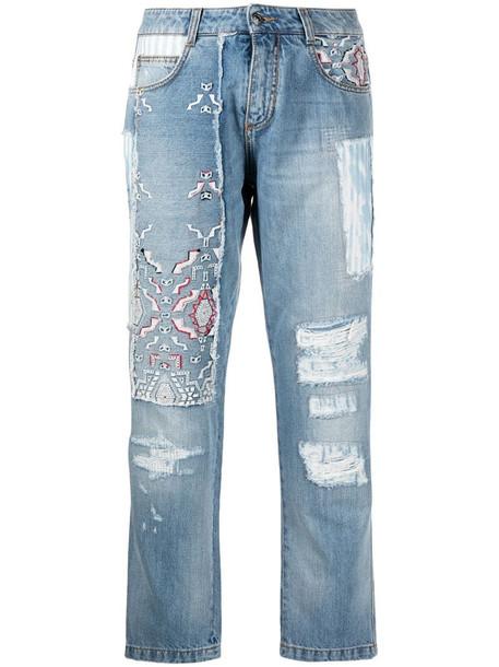 Ermanno Scervino patchwork design jeans in blue