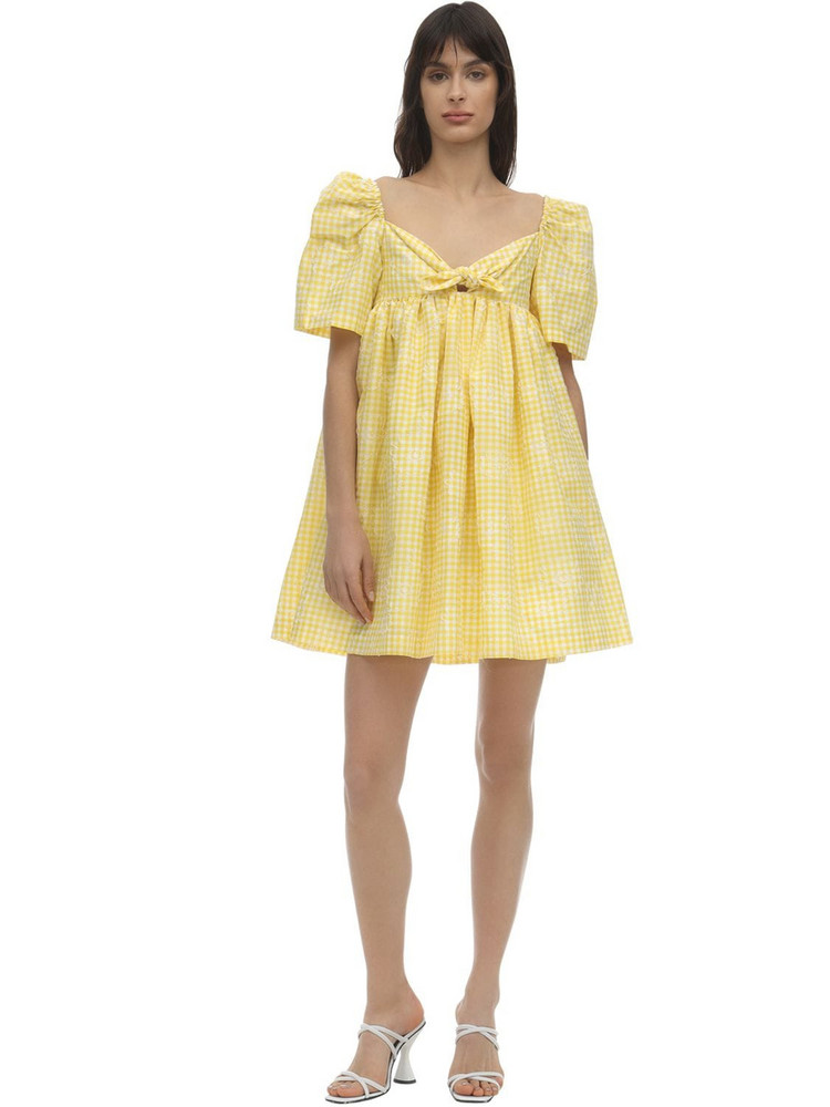 PUSHBUTTON Checked Cotton Blend Mini Dress in white / yellow