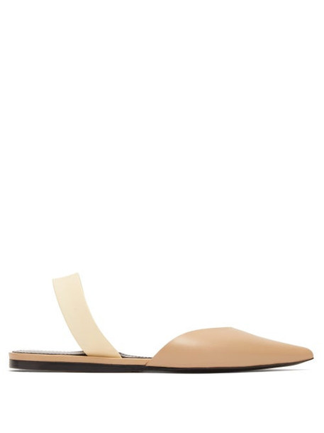 Proenza Schouler - Point Toe Leather Slingback Flats - Womens - Nude