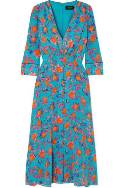 Saloni - Eve Printed Silk Crepe De Chine Midi Dress - Blue