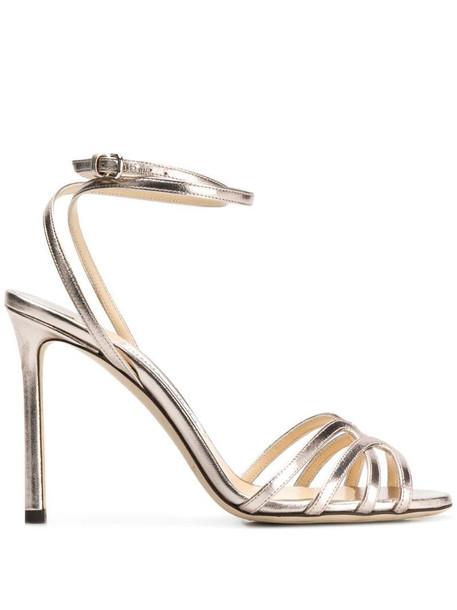 Jimmy Choo Platinum Mimi 100 sandals in metallic