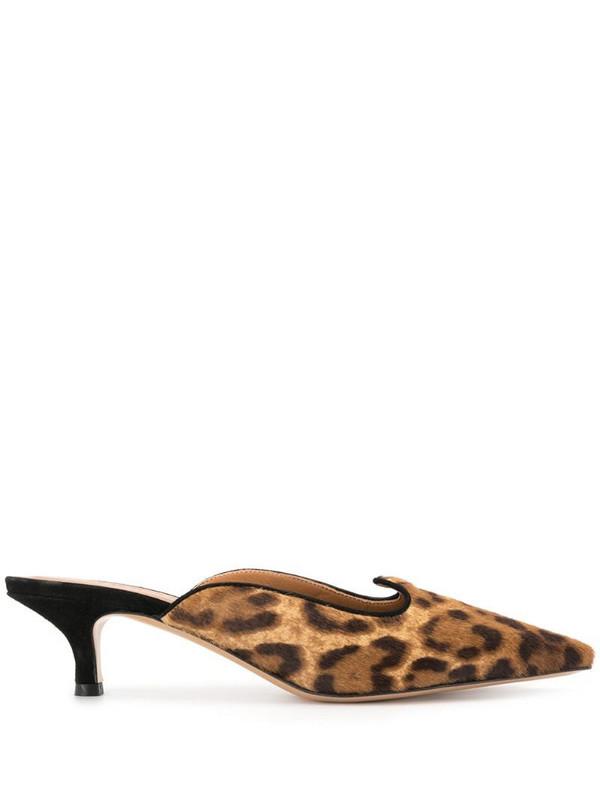 Le Monde Beryl leopard print kitten heel mules in brown