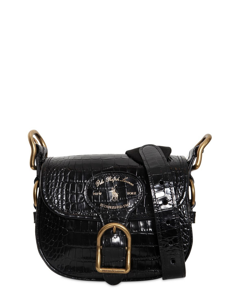 POLO RALPH LAUREN Croc Embossed Leather Shoulder Bag in black