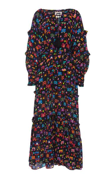 Chufy Tacna Ruffled Broadcloth Maxi Dress in print