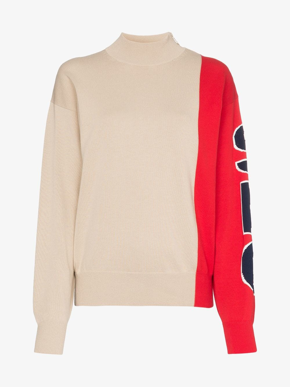 See By Chloé See By Chloé colour-block logo-sleeve side-zip jumper in beige