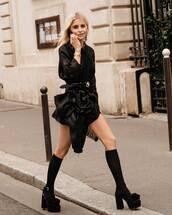 dress,mini dress,black dress,miu miu,knee high socks,platform sandals