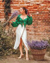 top,crop tops,long sleeves,midi skirt,wrap skirt,sandal heels