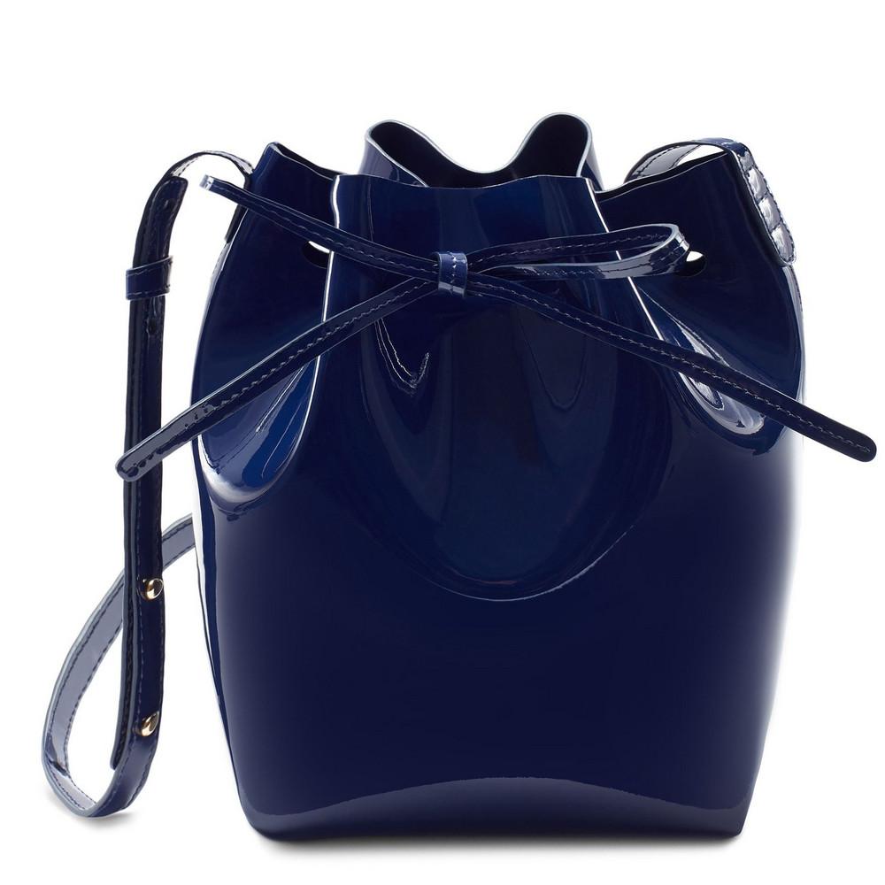 Mansur Gavriel Patent Mini Bucket Bag - Blu