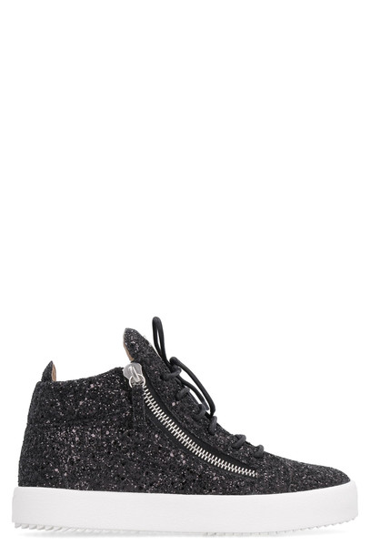 Giuseppe Zanotti Glitter Fabric Mid-top Sneakers in black