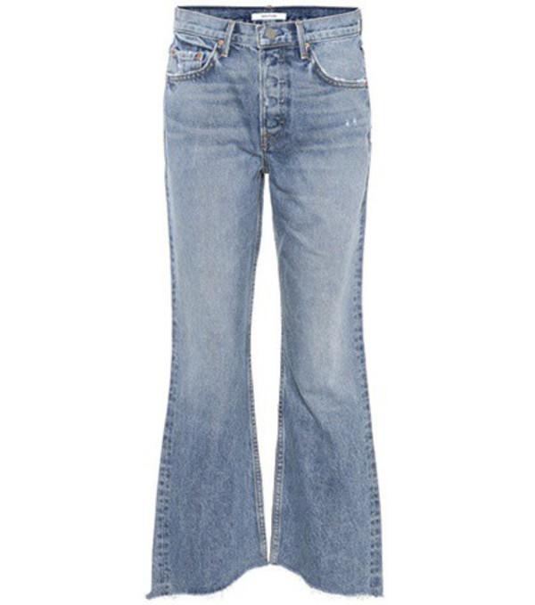 Grlfrnd Dahl cropped high-rise flared jeans in blue