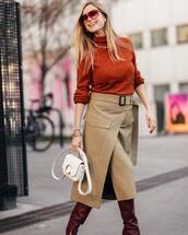 sweater,turtleneck sweater,orange,wrap skirt,beige,celine,white bag,knee high boots