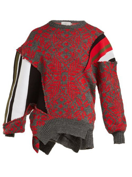 Preen By Thornton Bregazzi - Vera Patchwork Wool Blend Sweater - Womens - Black Red