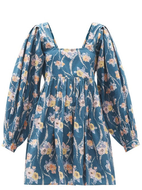 Loveshackfancy - Eaton Floral-print Cotton-poplin Mini Dress - Womens - Blue Print